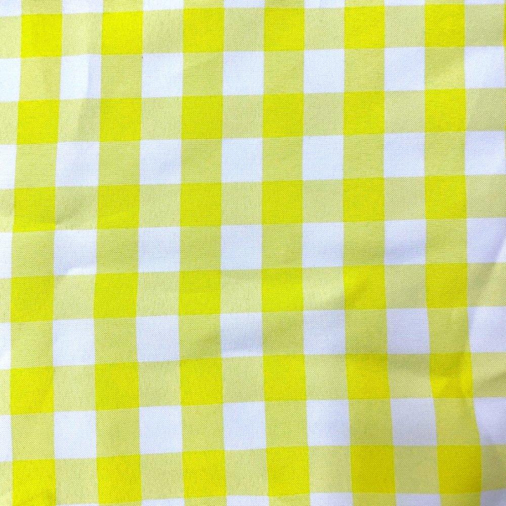 בד ברלינגטון משבצות צהוב לבן