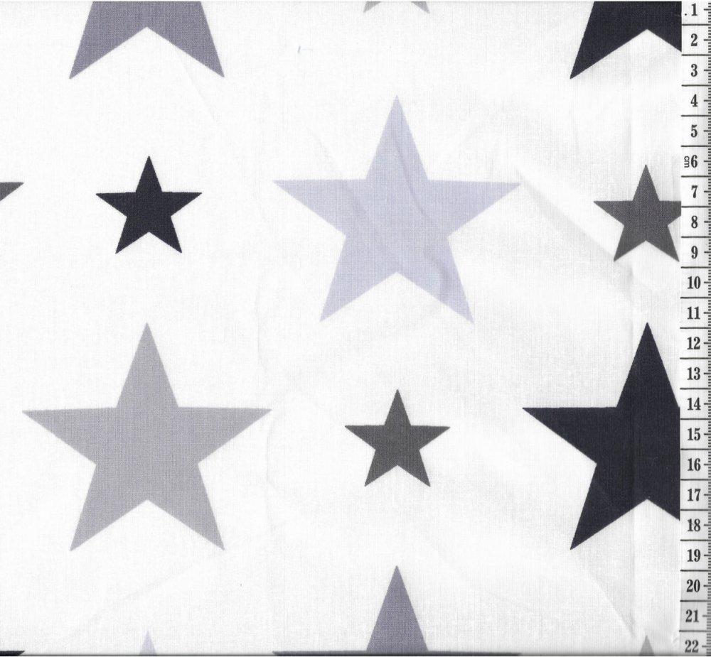 בד כותנה כוכבים אפור שחור - רוחב 2.5 מ'