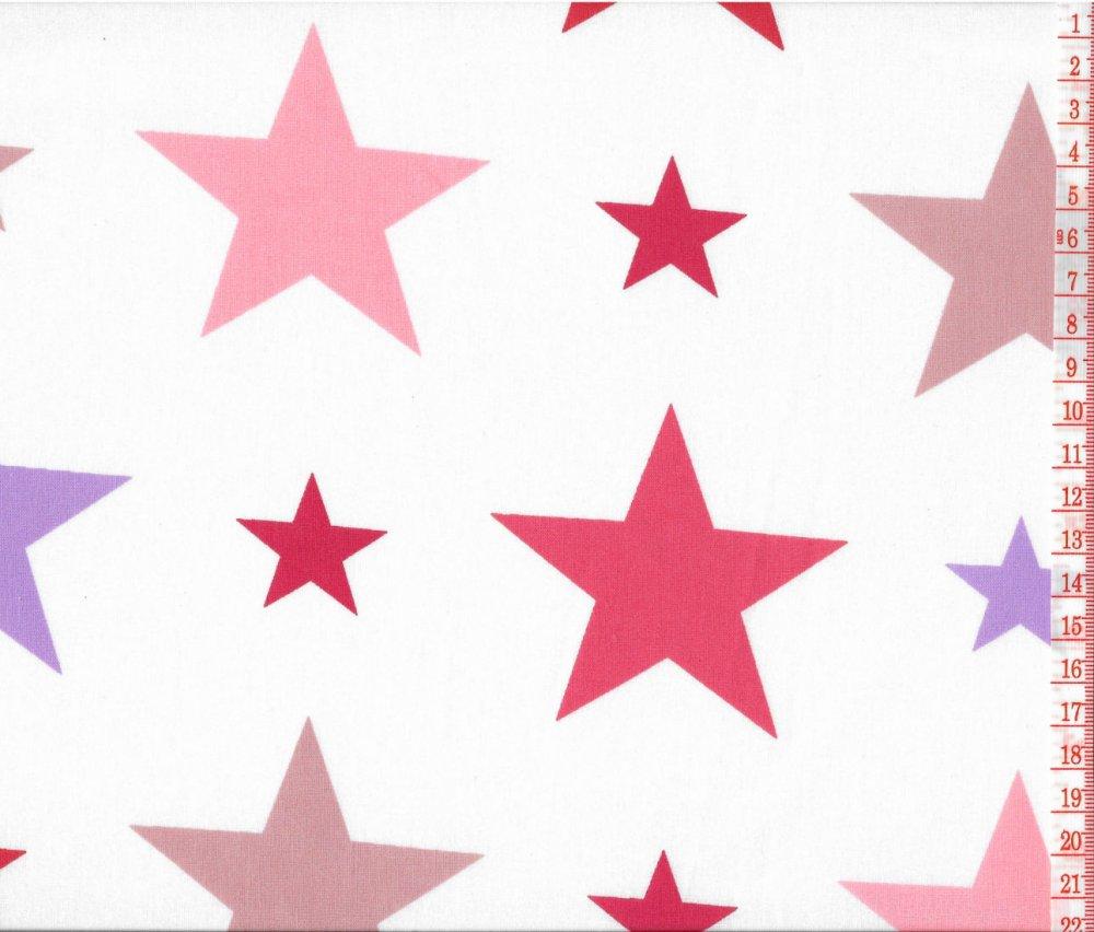 בד כותנה כוכבים ורוד וסגול - רוחב 2.5 מ'
