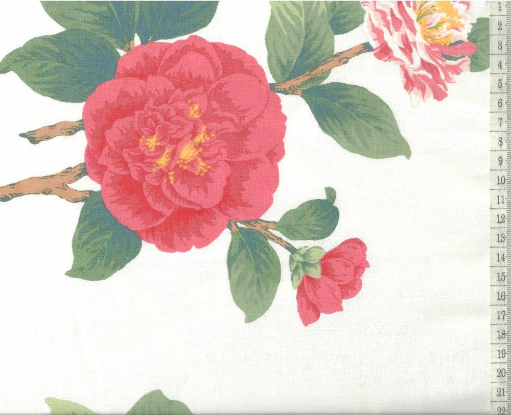 בד כותנה פרחים ורודים גדולים - רוחב  2.5 מ'