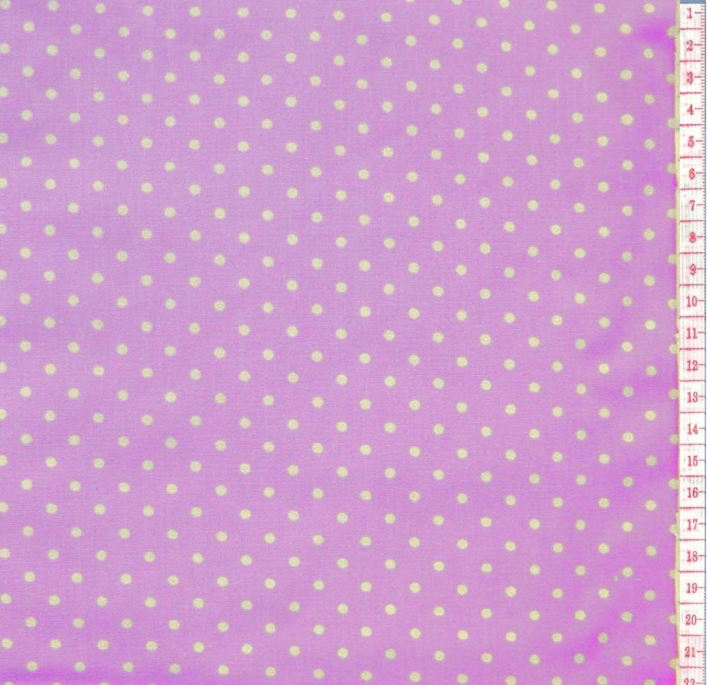 בד כותנה סגול בהיר נקודות - רוחב  1.25 מ'