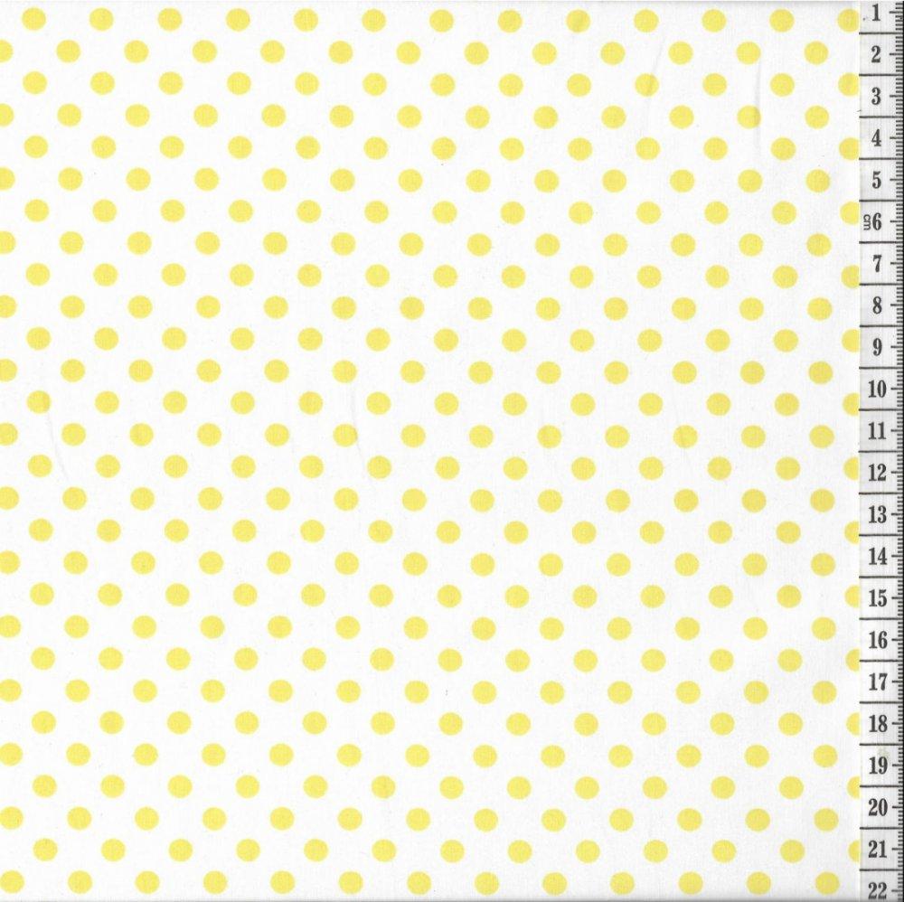 בד כותנה (פרקל) נקודות צהובות - רוחב 2.85 מ'