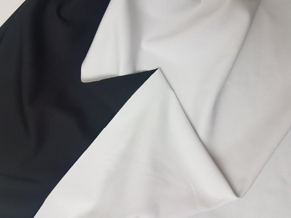 בד לייקרה 230 גר' דו צדדי שחור לבן