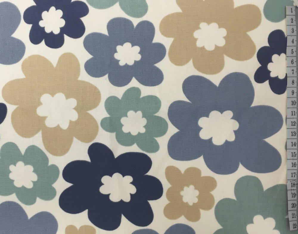 בד קנבס פרחים כחול-בז'