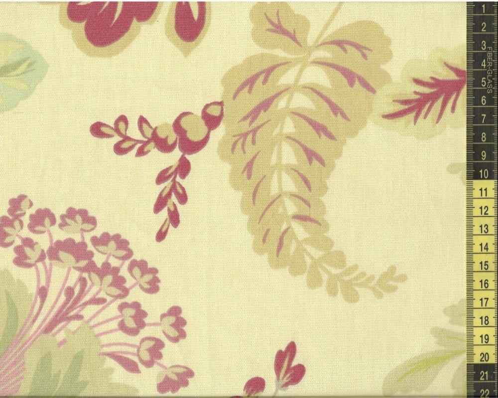 בד קנבס בז' עלים ופרחים