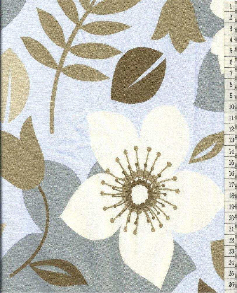 בד כותנה תכלת פרחים גדולים - רוחב  2.5 מ'